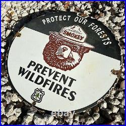 Vintage 1951 Us Forest Service Smokey Bear Porcelain Sign Oil Gas National Park