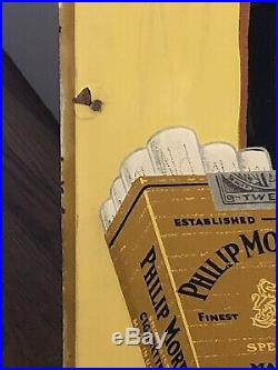 Vintage 1952 Philip Morris Cigarettes Tobacco Gas Oil 46 Embossed Metal Sign