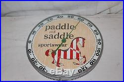 Vintage 1957 Paddle & Saddle Sportswear Gas Oil 12 Metal Glass Thermometer Sign