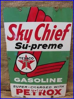 Vintage 1960 Porcelain Texaco Sky Chief Gas Station Sign Antique Old Oil 9658