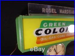 Vintage 1960's Gas Station Sign Light Clock Green Colonial Gas Oil Coal Furnace