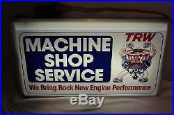 Vintage 1960's TRW Machine Shop Service Engine Gas Oil 25 Lighted Metal Sign
