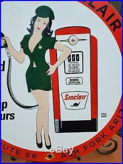 Vintage 1961 Joe's Sinclair Porcelain Enamel Pump Sign Gas Oil Pump Plate Az
