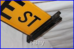 Vintage 1964 State Street Chicago Gas Oil 2 Sided 27 Porcelain Metal Road Sign