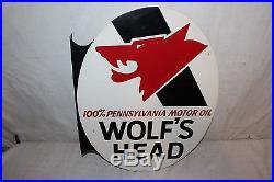 Vintage 1971 Wolf's Head Motor Oil Gas Station 2 Sided 22 Metal Flange Sign