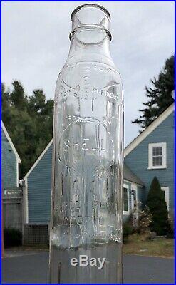 Vintage 30s 100% Original SHELL PENN Motor Oil Gas Station Quart Glass Bottle
