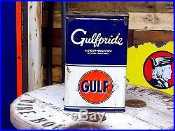 Vintage 30s Gulf Gulfpride 5 quart motor oil can