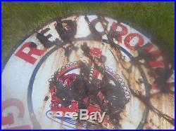Vintage 42 RED CROWN GASOLINE Gas STATION OIL Advertising Porcelain SIGN