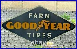 Vintage 48 x 25 Porcelain 1940s Goodyear Farm Tires Sign, Gas Oil, John Deere