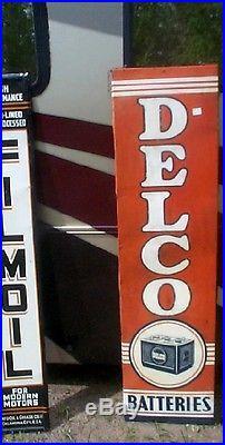 Vintage'49 Metal Vertical Delco Battery Sign Gas Service Station Gasoline Oil
