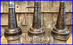 Vintage 50s Original HUFFMAN Dayton Ohio Quart 6 Motor Oil Bottles With Rack