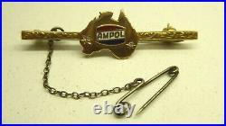 Vintage 9 Ct Gold Diamond Ampol Oil Company Enamel Sign Australia Map Brooch