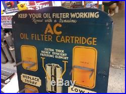 Vintage AC oil filter sign Gas Oil GM Delco display 1934
