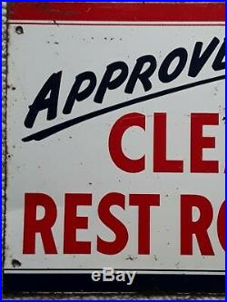 Vintage APPROVED CLEAN REST ROOMS Gas Oil Advertising Sign 24 x 17-1/2