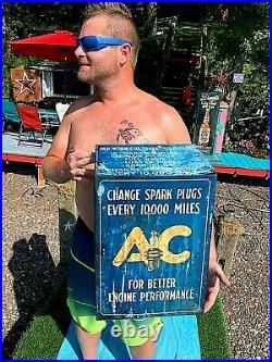 Vintage Ac Spark Plug Parts Display Cabinet Sign Gasoline Oil Gas