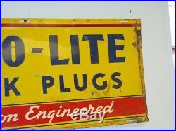 Vintage Advertising Auto Lite Spark Plugs Sign, Car Gas Oil, Original