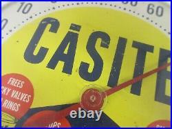 Vintage Advertising Casite Round Thermometer Gas Oil Automobilia 894-q