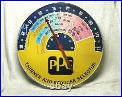 Vintage Advertising Thermometer PPG Automotive Paint Thinner 18 Round Gas/Oil