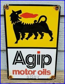 Vintage Agip Motor Oil Porcelain Can Shaped Sign Gas Station Pump Plate Fuel