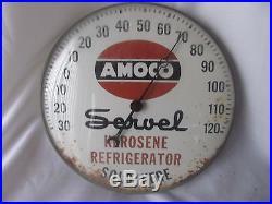 Vintage Amoco Motor Oil Gas Round Thermometer Servel Kerosene Refrigerator