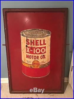 Vintage AntIque SHELL X-100 Motor Oil Swinging Sidewalk Sign gas station w ring