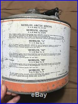 Vintage Antique Original Mobiloil Gargoyle 3 Gallon Oil Can Petroliana Mobil