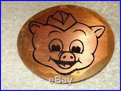 Vintage Antique Original Piggly Wiggly Grocery Store Pig 3.5 Metal Gas Oil Sign