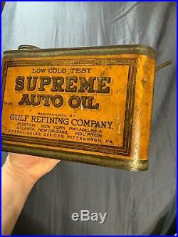 Vintage Antique RARE Gulf Supreme Auto Oil One 1 Gallon Oil Spout Can