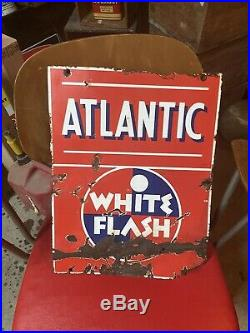 Vintage Atlantic White Flash Gas Station Porcelain Pump Plate Oil Metal Sign