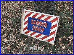 Vintage Barber Shop Flange Advertising Sign Store Oil Gas