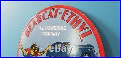 Vintage Bearcat Porcelain General Motors Chevrolet Chevy Ethyl Gas Oil Sign