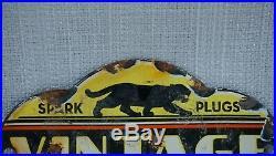 Vintage Black Cat Spark Plugs Porcelain Sign Gas Oil Metal Service Station Rare