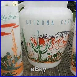 Vintage Blakely Gas Oil Arizona Cactus Pitcher with 6 Glasses Arizona Cacti 1950