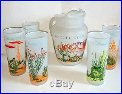 Vintage Blakely Oil and Gas Arizona Cacti 5 Frosted Glasses and Pitcher