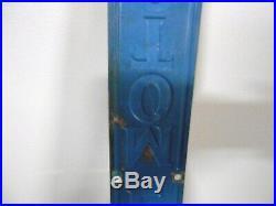 Vintage Blue GM Sign General Motors Auto Maker Embossed Vertical Metal Oil Gas