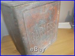 Vintage CARLESS Petrol Can LIGHTHOUSE fuel tin 2 gallon oil automobilia MOTOR