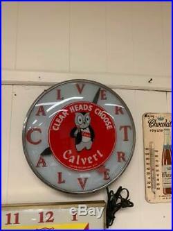 Vintage Calvert Whiskey Owl Clock Working GAS OIL SODA COLA