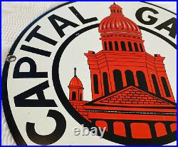 Vintage Capital Gasoline Porcelain Sign Service Station Standard Motor Oil Gas