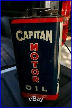 Vintage Capitan Parlube 2 Gallon Oil Can USA Advertising Graphics