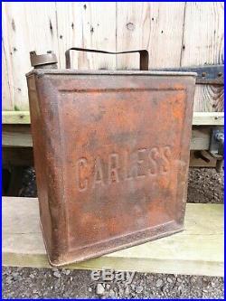 Vintage Carless 2 Gallon Petrol Can Fuel Oil Automobilia Rare