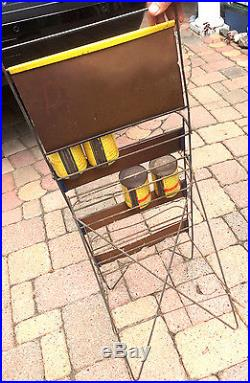 Vintage Casite Gas Oil Store Display Rack Sign Gasoline With 4 15oz Full Cans