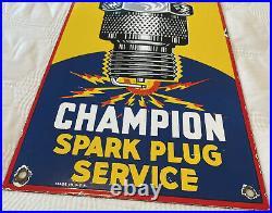 Vintage Champion Spark Plug Porcelain Sign Service 18 X 8 Metal Gasoline & Oil