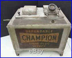 Vintage Champion Spark Plug Service Tester Cleaner Cabinet Advertising Gas Oil