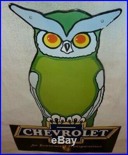 Vintage Chevrolet Owl Car & Truck Dealer 36 Porcelain Metal Gasoline & Oil Sign
