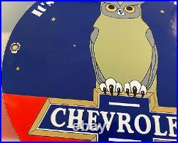 Vintage Chevrolet Owl Porcelain Sign Metal Gasoline Motor Oil 11 3/4 Dealership
