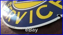 Vintage Chevrolet Porcelain Gas Oil Auto Trucks Super Service Pump Bow Tie Sign