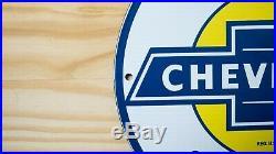 Vintage Chevrolet Super Service Bowtie Porcelain Sign Gas Oil Dealer Pump Plate