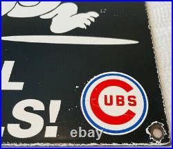 Vintage Chicago Cubs Porcelain Stadium Sign Gas Oil Nbl Foul Baseball Bears