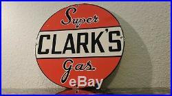 Vintage Clark's Gasoline Porcelain Gas Auto Oil Service Station Pump Plate Sign
