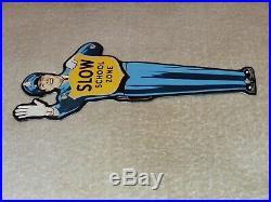 Vintage Coca Cola Cop Slow School Zone 9 Porcelain Metal Soda Pop Gas Oil Sign